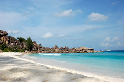 Beautiful beach on tropical island La Digue in Seychelles. Islands Royalty Free Stock Photography