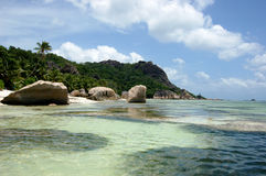 Beautiful beach on tropical island La Digue in Seychelles. Islands Stock Photo