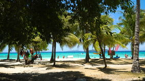 Beautiful beach on a tropical island Malcapuya. Philippines. Tropical beach on the island Malcapuya, Palawan, Philippines. Beautiful tropical island with sand stock footage