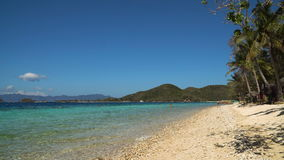 Beautiful beach on a tropical island Malcapuya. Philippines. Tropical beach on the island Malcapuya, Palawan, Philippines. Beautiful tropical island with sand stock video