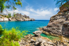 Beautiful beach with turquoise water and cliffs. Crete island, Greece Royalty Free Stock Photos