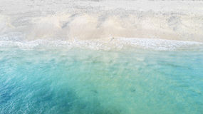 Beautiful beach with turquoise water. Top view of Beautiful beach with white sand and turquoise water Royalty Free Stock Photography