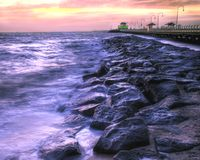 Beautiful Beach at Twilight. A HDR image of St. Kilda Beach (Australia) and Pier at twilight Royalty Free Stock Photo