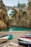 Beautiful beach under the bridge Stock Photography