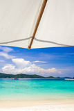 Beautiful beach under umbrella Royalty Free Stock Photo