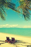 Beautiful beach. View of nice tropical beach with palms around. Stock Photos