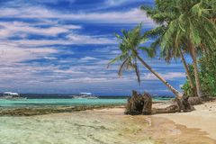Beautiful beach. View of nice tropical beach with palms around. Holiday and vacation concept. Tropical beachat stock image