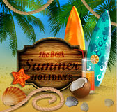 Beautiful beach view with wooden board Royalty Free Stock Images