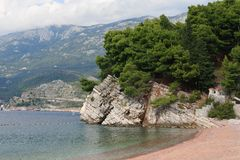 Beautiful beach in the village of Milocher, Montenegro Stock Photography