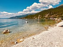 Beautiful beach at village Trpe royalty free stock photography