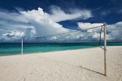 Beautiful beach with Volleyball Net Royalty Free Stock Photography