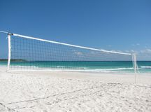 Beautiful beach with a volleyball net Stock Images