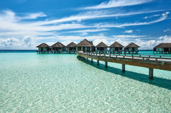 Beautiful beach with water bungalows. At Maldives Royalty Free Stock Image