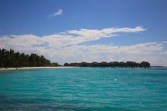 Beautiful beach. With water bungalows at Maldives Stock Photo