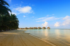 Beautiful beach. With water bungalows at Maldives Stock Image