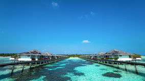 Beautiful beach with water bungalows at Maldives Stock Image