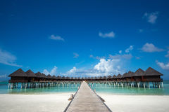 Beautiful beach with water bungalows at Maldives. Stock Image