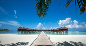 Beautiful beach with water bungalows at Maldives Royalty Free Stock Images