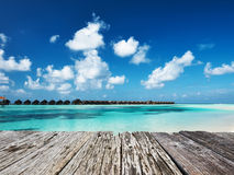 Beautiful beach with water bungalows Stock Photography