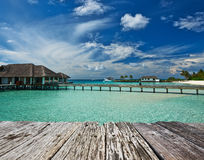 Beautiful beach with water bungalows Stock Image