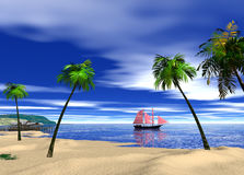 Beautiful beach whit blue water and blue sky 3d rendering. Beach somewhere in the Caribbean Royalty Free Stock Images