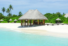 Beautiful beach with white sand and bar on Maldives Royalty Free Stock Photo