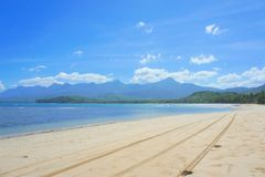 The beautiful beach of white sand , the sea and trees . Stock Photo