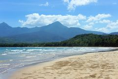 The beautiful beach of white sand , the sea and trees . Stock Photos