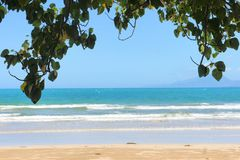 The beautiful beach of white sand , the sea and trees . Royalty Free Stock Photos