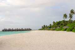 Beautiful beach with white sand and water villa on Maldives Royalty Free Stock Photography