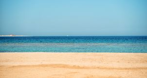 Free Beautiful Beach With Sand, Blue Sky, Water With Boat Stock Photos - 125933263