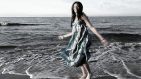 Beautiful beach woman stock video footage