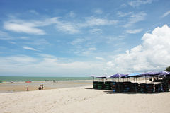 Beautiful beaches and clear sea. A view of the beach, Phetchaburi Thailand Royalty Free Stock Photography