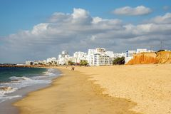 Beautiful beaches and cliffs in Quarteira, Algarve, Portugal Royalty Free Stock Images
