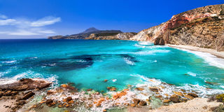 Beautiful beaches of Greek islands- Milos, Cyclades Royalty Free Stock Photography