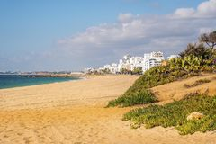 Beautiful beaches in Quarteira, Algarve, Portugal Royalty Free Stock Photo