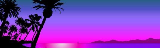 Beautiful beaches Silhouette. Illustration of panorama views of landmarks Vector Illustration