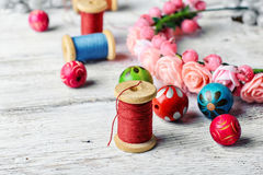 Beautiful Beads And Spool Of Thread Royalty Free Stock Photography