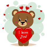 Sweet bear brown in a red bow is worth and keeps in the clutches of a red heart with an inscription, in the style of cartoons. A beautiful bear brown in red bow Stock Images
