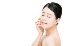 Beautiful beauty asian woman face close up on white background Royalty Free Stock Photography