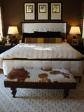 Beautiful  Bed Room. Beautiful bed room with dark brown walls white bed brown and black pillows bench at the foot of bed made of cow hide two lamps and a rug Royalty Free Stock Photos