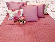 Beautiful bedclothing in pastel pink colour Royalty Free Stock Photos