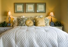 Beautiful Bedroom. In model home Stock Image