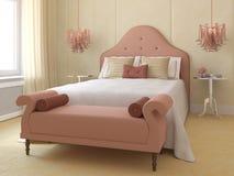 Beautiful bedroom interior. Beautiful bedroom interior for young girl. 3d render Stock Photos