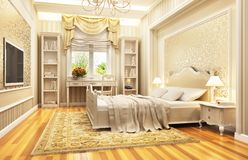 Beautiful bedroom interior design in a classic style. Beautiful bedroom interior in a classic style royalty free illustration
