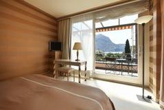 Beautiful bedroom lake view Stock Image