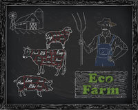 Beautiful beef diagram, pork, lamb and farmer stock illustration
