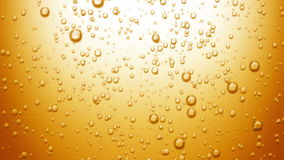 Beautiful Beer Bubbles Rising Up. Loopable 3d Animation of Sparkling Water on Yellow Background. HD 1080 stock video footage