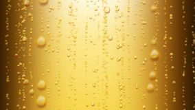 Beautiful Beer Bubbles Rising Up. Loopable 3d Animation of Sparkling Water on Yellow Background. HD 1080