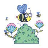 Beautiful bees flying in the landscape royalty free illustration